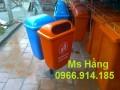 Thùng rác công cộng cọc treo đôi,thùng rác 2 ngăn giá rẻ