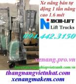 Xe nâng bán tự động 1000kg nâng cao 1600mm NICHI-LIFT NE1016