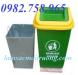 Thùng rác Composite 50l, thùng rác 90l nắp lệch, thùng rác công cộng giá rẻ
