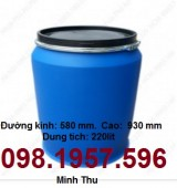 thùng phuy 220l, thùng 220l, thùng đựng hóa chất 220l, phuy 220l nhựa
