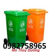 Thùng rác 120 lít, thùng rác nhựa 2 bánh xe, thùng đựng rác công cộng