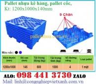 Pallet kê hàng 1200x1000x140mm, Pallet nhựa 9 chân, Pallet cốc, pallet 9 chân g