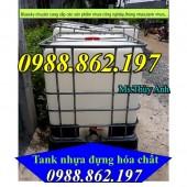 Tank nhựa cũ 1000 lít có khung thép, bồn nhựa ibc 1000 lít đựng nước, bồn nhựa i