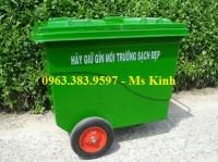 giá thùng rác 240 lít nhựa hdpe, thùng rác composite 660 lít 4 bánh xe, thùng rác