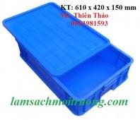 Thùng nhựa đặc có nắp đậy, thùng đựng đồ cơ khí, hộp nhựa công nghiệp giá rẻ