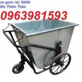 Xe gom rác bằng tôn, xe dọn vệ sinh, xe thu rác, xe gom rác 500 lít giá rẻ
