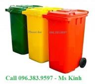 giá thùng rác nhựa hdpe 120 lít, đại lý thùng rác, xe đẩy rác 660l