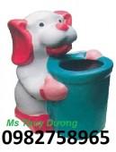 Thùng rác hình con gấu, thùng rác nhựa, thùng đựng rác ngoài khuôn viên