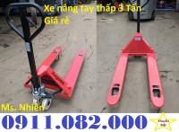 Phân phối xe nâng tay thấp giá rẻ- xe nâng tay 3 tấn bánh nylon- lh 0911.082.000