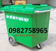 Thùng rác nhựa 660 lít, thùng rác nhựa 4 bánh xe, thùng rác nhựa HDPE