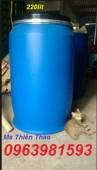 Thùng phuy nhựa nắp kín, thùng phuy làm bè, thùng phuy 220 lít giá rẻ