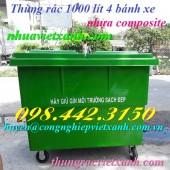 Thùng rác 1000 lít nhựa composite - Xe rác 1000 lít 4 bánh xe nhựa composite