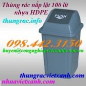 Thùng rác nắp lật 100 lít nhựa HDPE