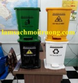 Thùng rác y tế, thùng rác y tế màu xanh, thùng rác đạp chân