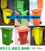 Nơi bán thùng rác giá rẻ tại long an- thùng rác 240 lít màu xanh, cam, vàng