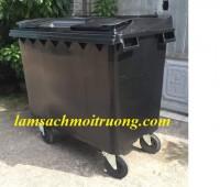 Xe gom rác nhựa, xe gom rác 660l 4 bánh xe, xe đẩy rác tay giá rẻ