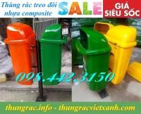 Thùng rác treo đôi 50Lx2 nhựa composite giá siêu rẻ call 0984423150 Huyền